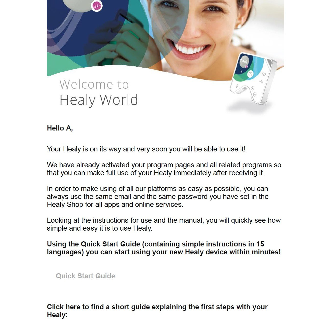 Welcome letter from Healy