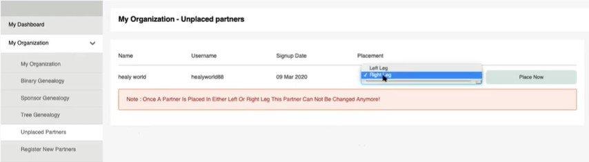 Healy unplaced partners screenshot