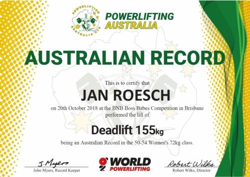 Jan Roesch Powerlifting Australia Australian Record 72kg 50-54 Women's Deadlift 155kg