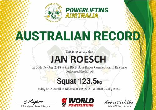 Jan Roesch Powerlifting Australia Australian Record in the 72kg 50-54 Women's Squat 123.5kg