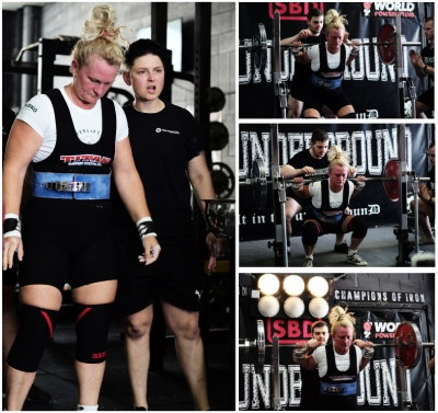 Jan Roesch preparing for her next Squat attempt, and was successful at 131kg at the IU Powerlifting Competition, Brisbane 7th December 2019